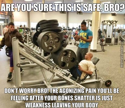 The Guy Going To Be Taking A Selfie While The Guy Is Trapped Under All That Weight... I Guess You Can Say He Will Never Skip Leg Day After This