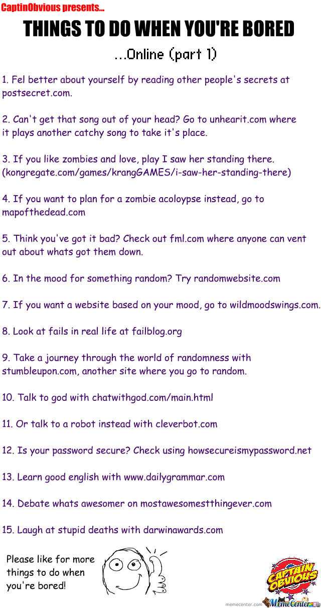 Things To Do When Youre Bored online by recyclebin