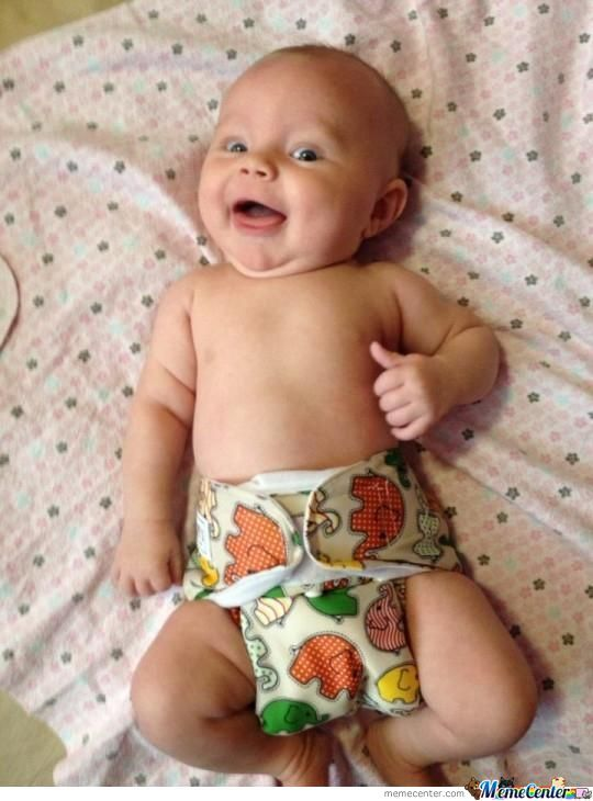 Thumbs Up For My Fresh Diaper!