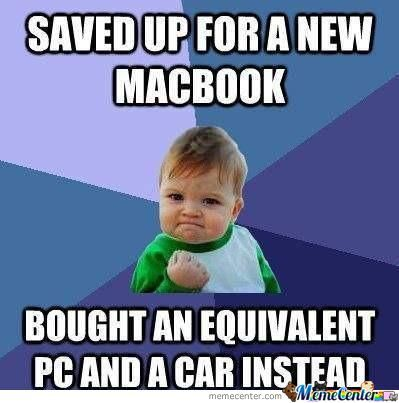success kid saves money for macbook