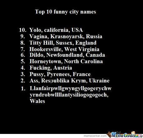 Top 10 Funny City Names