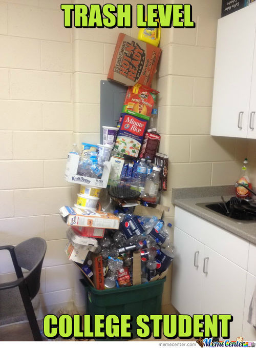Trash Level: College Student