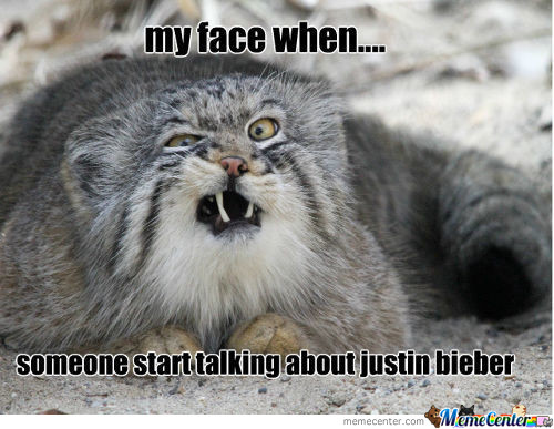 My Face When Someone Start Talking About Justin Bieber