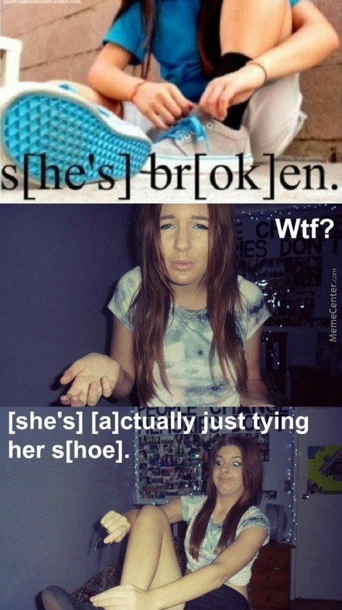 Tying Her Broken Shoelaces