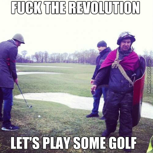 Ukrainian Uprisers Playing Golf On The President's Residence In Kiev