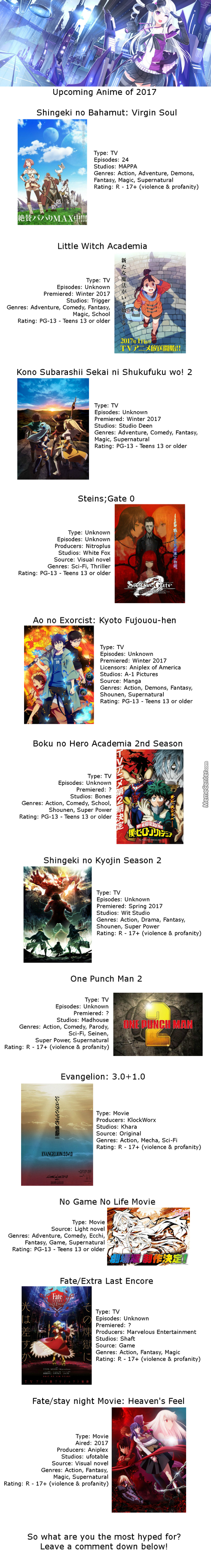 Upcoming Anime Of 2017
