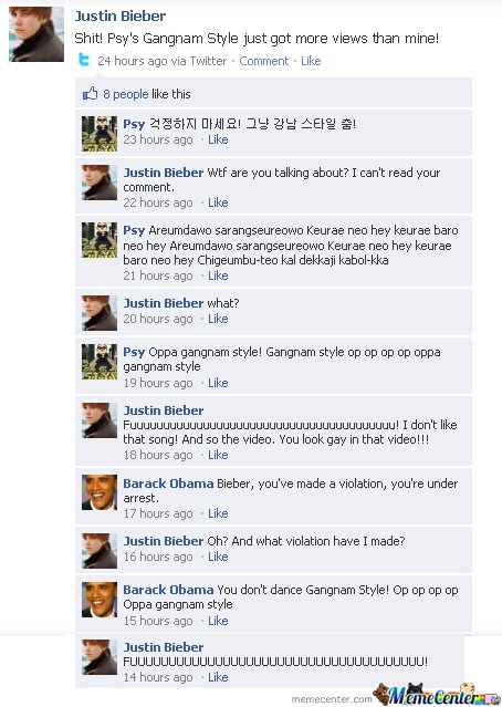 Justin Bieber vs. PSY on facebook