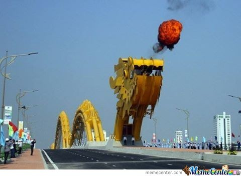 Vietnam New Steel Bridge Shaped Like A Dragon That Literally Shoots Fire From Its Mouth.