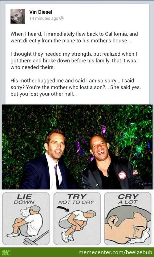 Vin Diesel Talking About Paul Walker's Death