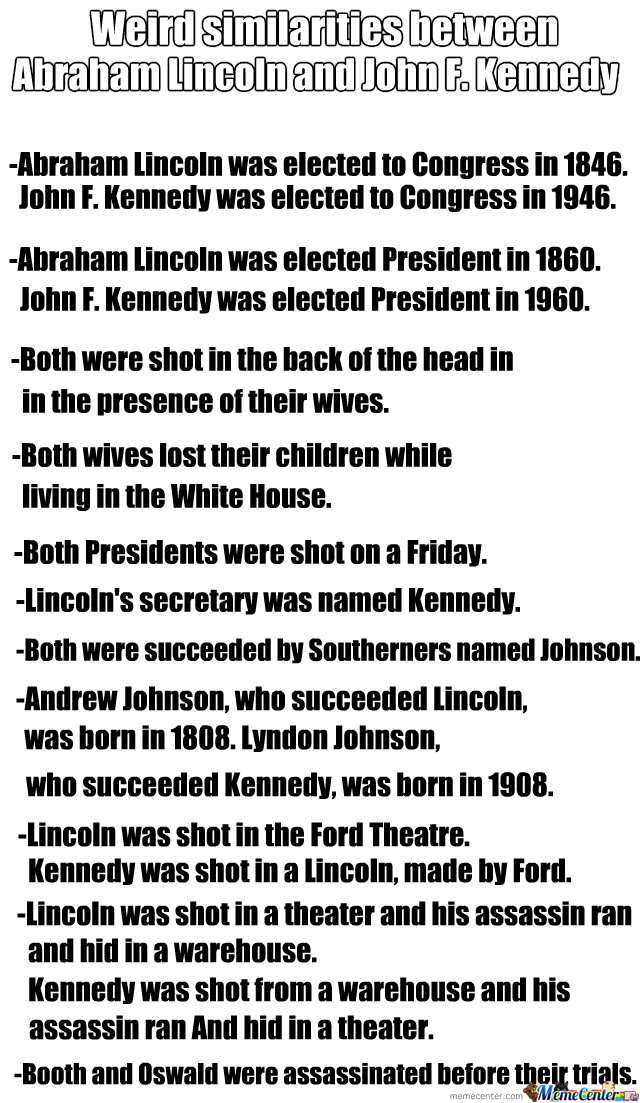 the interesting similarities between john f kennedy and abraham lincoln Find and save ideas about lincoln kennedy on pinterest super interesting similarities between abraham between abraham lincoln and john f kennedy.