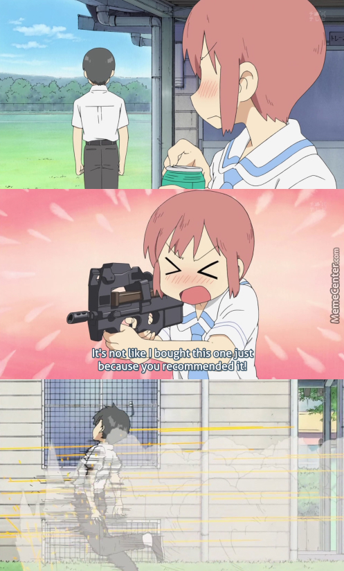 When Senpai Recommends Something To A Tsundere. (Anime: Nichijou )