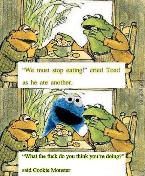 Why Is A Toad Eating A Cookie? Why Is A Monster Eating A Cookie? What's Grammar? Stop Asking Questions.