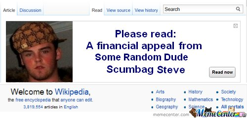 wikipedia appeal from Scumbag steve