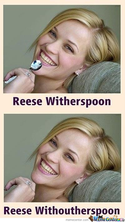 With/ without her spoon