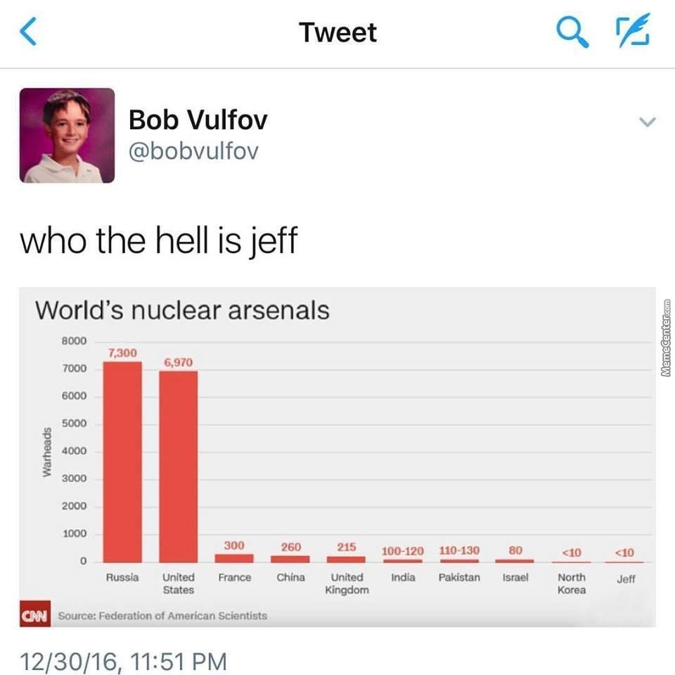 Wonder If Jeff Is Someone Who Decided His Summer Project Would Be To Build A Nuke In His Backyard, And Actually Did It