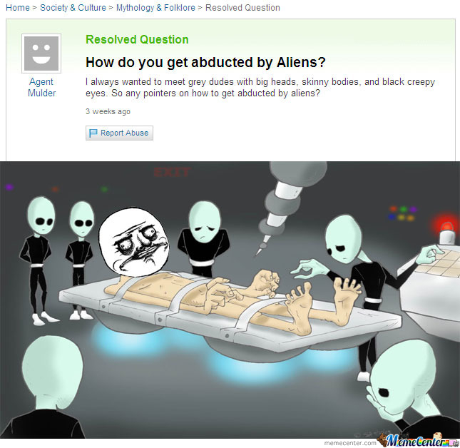 Yahoo Question About Alien Abduction