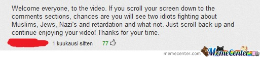 Youtube Comment.  You're Doing It Right