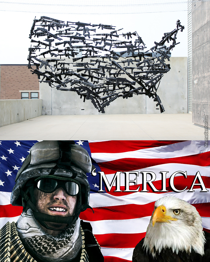 130 Suspended Toy Guns Form A Map Of The Usa