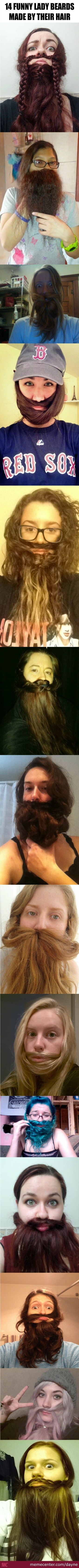 14 Funny Lady Beards Made By Their Hair