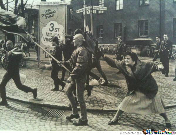 1985 Swede, An Concentration Camp Survivor Hits A Skinhead With Her Purse. Badass