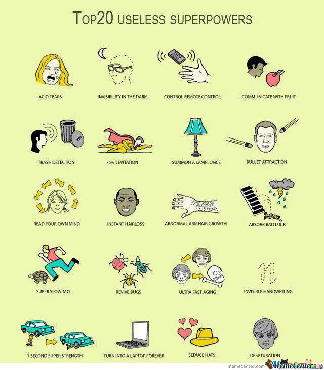 20 Useless Superpowers