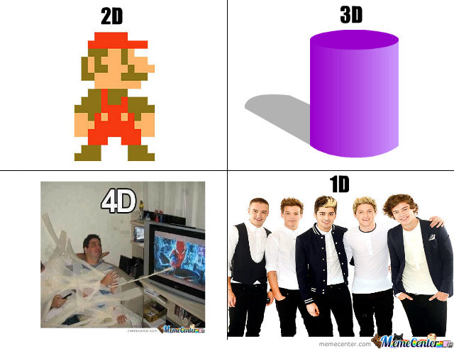 2D, 3D, 4D, 1D? by daflame12 - Meme Center