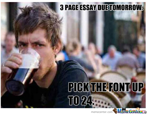 3 Page Essay: Pick Up The Font