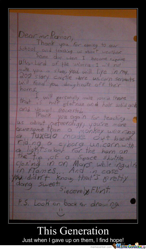 4Th Grader's Letter To The Weather Man
