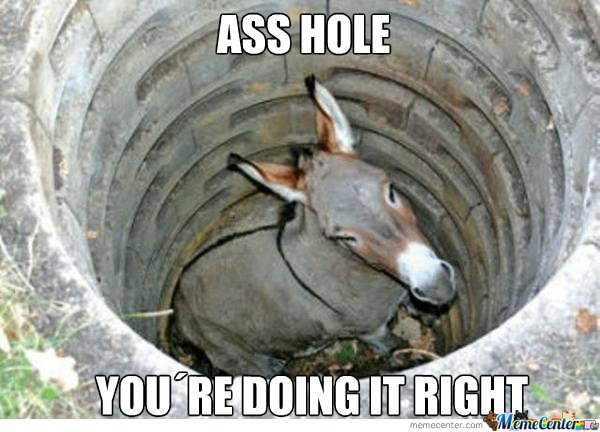 Ass Hole, You are doing it right