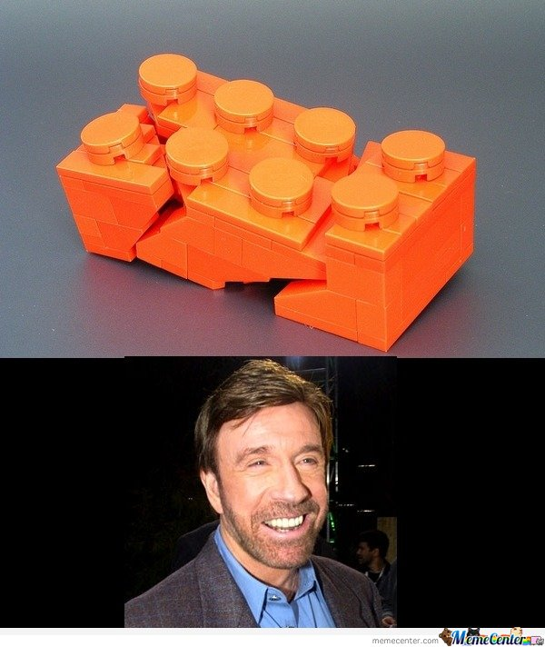 Chuck Norris steps on a lego