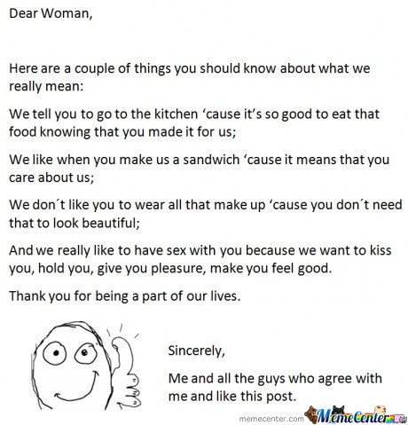 Dear Women, Team Guy Talkin'