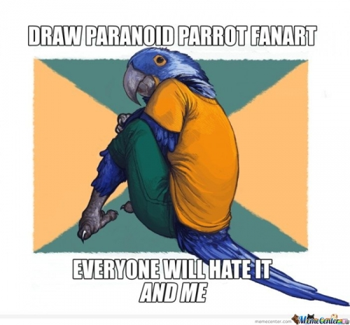 Draw paranoid parrot fanart everyone will hate it