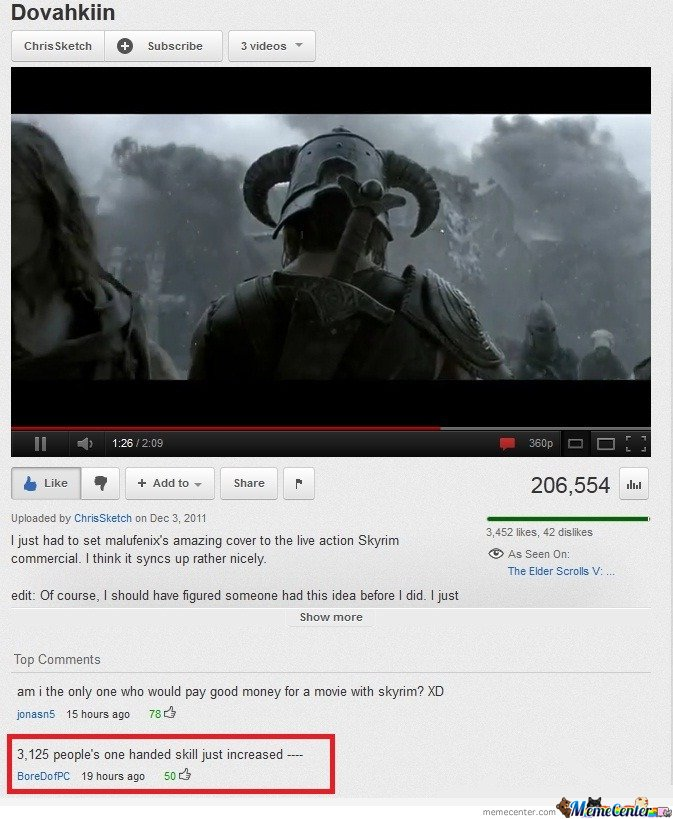 Epic skyrim comment