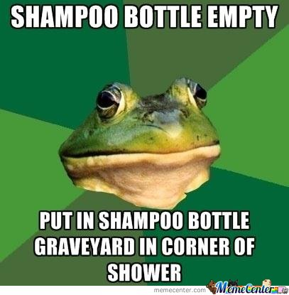 Foul bachelor frog - Shampoo bottle empty