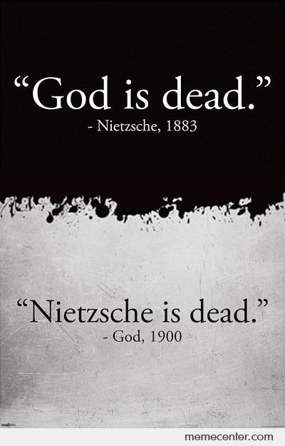 god is dead by nietzche The meaning of nietzsche's death of god kevin cole in time's stayless stealthy swing, uncompromising rude reality that 'god is dead' seems a persistent.