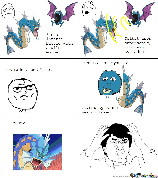 Golbat uses supersonic, confusing Gyrados