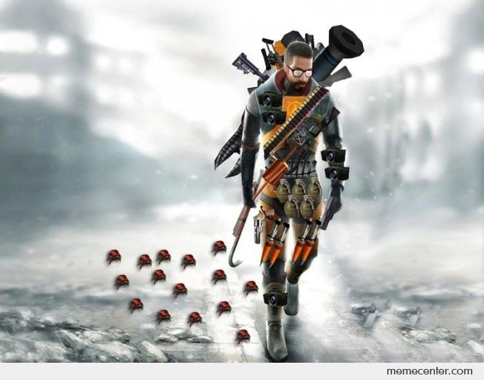 Gordon Freeman carrying his weapons - realistic.