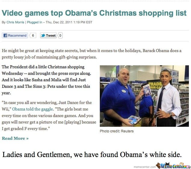 Ladies and gentleman, we have found Obama's white side