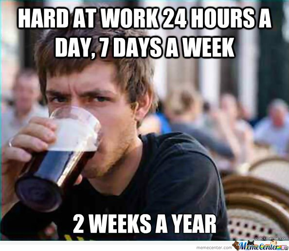Lazy college senior - Hard at work 24 hours a day, 7 days a week