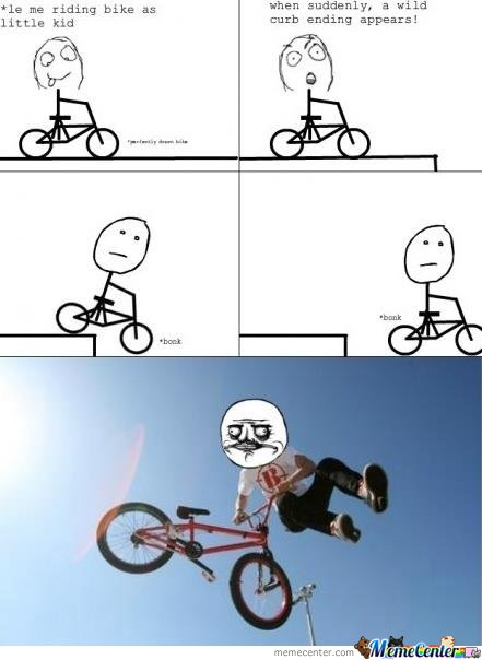 Le me riding bike as little kid