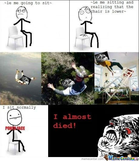 Le me sitting and realizing that the chair is lower-