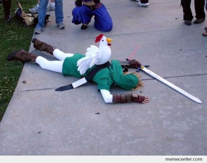 Funny Link Zelda Memes : Legend of zelda chicken attack cosplay by ben meme center
