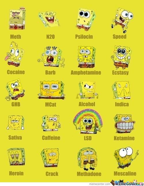 Many Drug Faces Of Sponge Bob