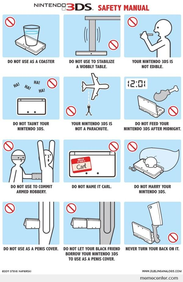 Nintendo Ds Safety Manual By Ben  Meme Center