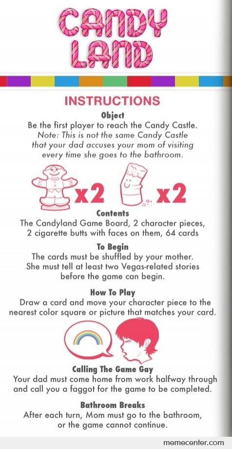 Rules For Candy Land By Ben Meme Center
