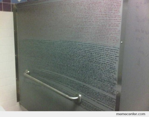 The whole first chapter of a Harry Potter book written on a bathroom wall
