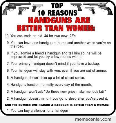Top 10 Reasons Why Guns Are Better Then Women...