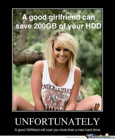Unfortunately.. A good girlfriend will cost you more than a new hard drive