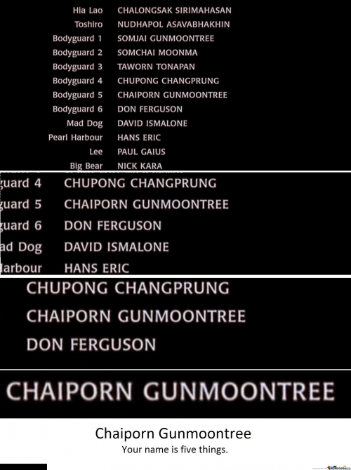 Watched Ong Bak: Thai Warrior tonight. One name in the credits jumped out at me.