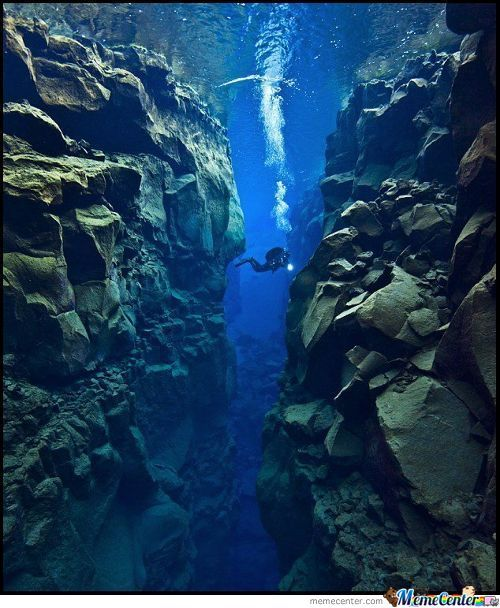 A Diver Swimming Between The North American And Eurasian Tectonic Plates.